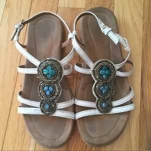 Bass Leather Beaded Strappy Sandals